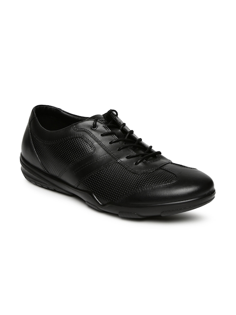 Hush Puppies Men Black Leather Aldric Exchange Oxfords