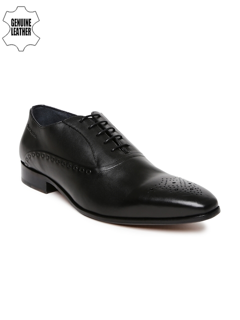 Hush Puppies Men Black Elan Oxford Genuine Leather Oxfords
