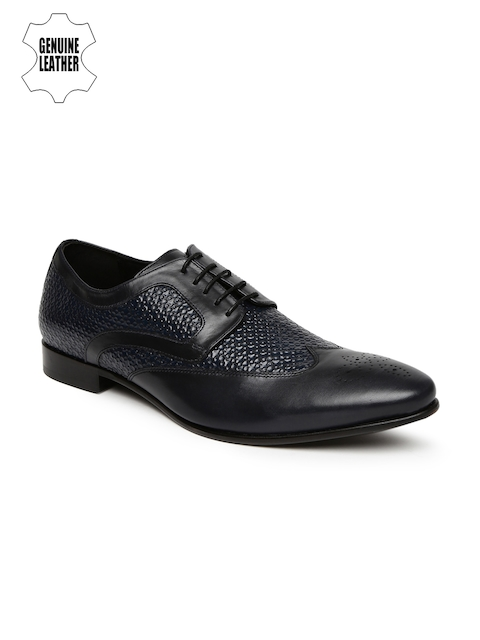 Hush Puppies Men Black & Navy Blue Leather Textured Swanky Brogues
