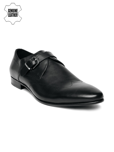 Hush Puppies Men Black Swanky Monk Genuine Leather Semiformal Slip-Ons