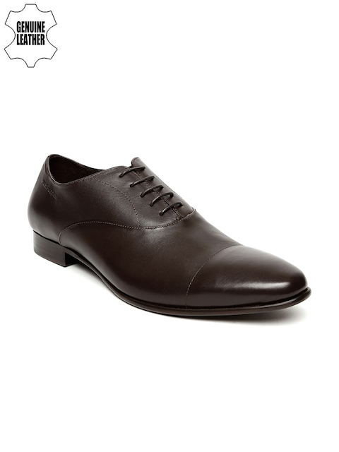 Hush Puppies Men Brown Pointy-Toed Genuine Leather Oxfords