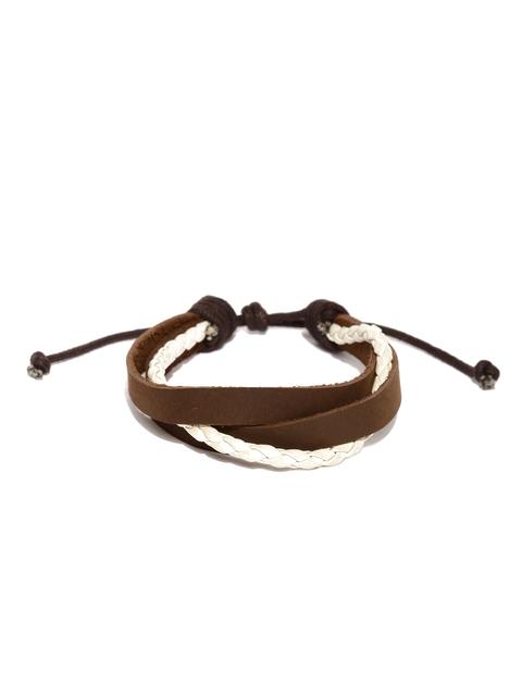 The Bro Code Men Brown & White Braided Bracelet