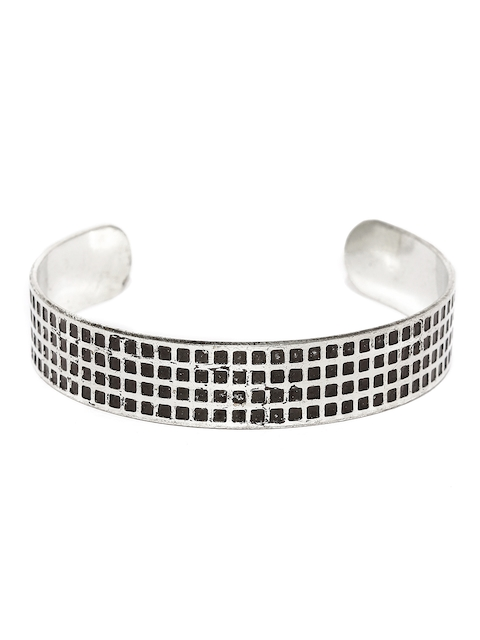 The Bro Code Men Silver-Toned & Black Textured Metal Cuff Bracelet