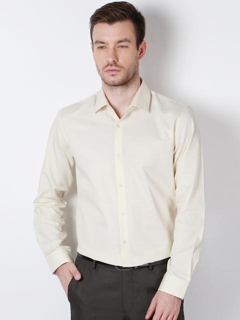 Peter England Men Beige Solid Formal Shirt