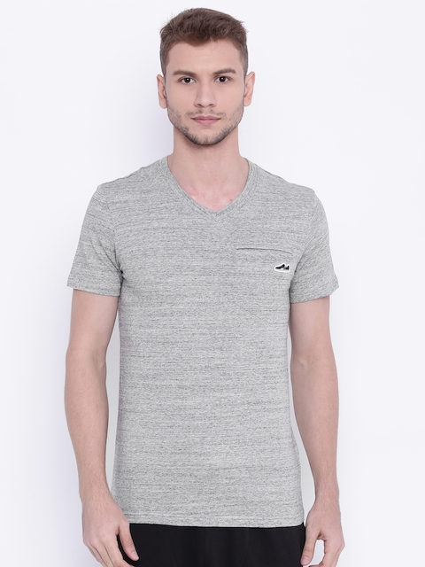Puma Men Grey Melange Suede Pocket V-Neck T-shirt