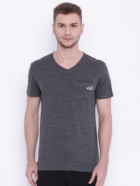 Puma Men Charcoal Grey Solid V-Neck T-shirt
