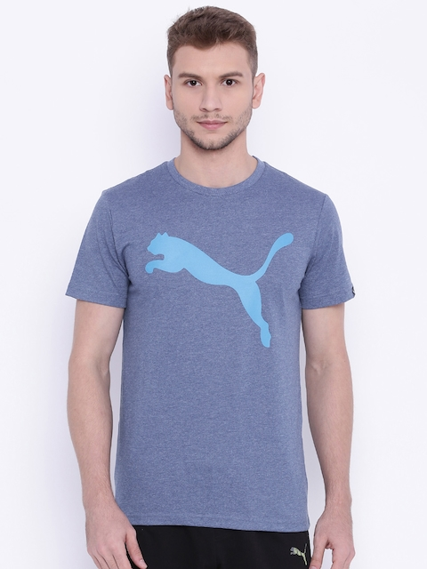 Puma Men Blue ESS Big Cat Heather Printed Round Neck T-shirt  available at myntra for Rs.439