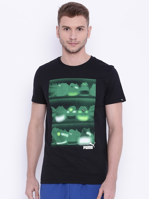 Puma Men Black Sneaker Photo Printed Slim Fit T-shirt  available at myntra for Rs.599