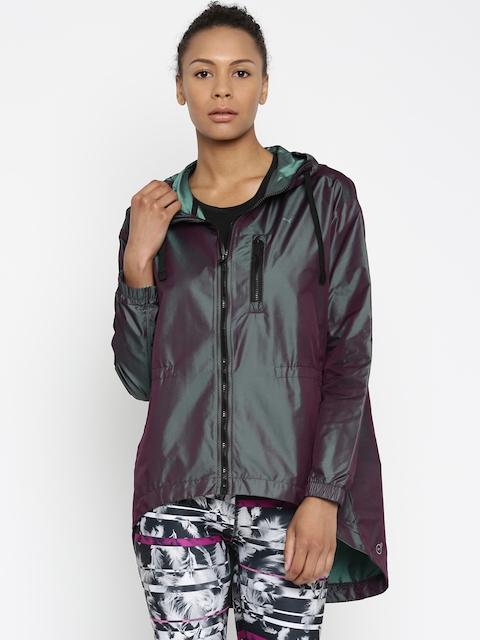 Puma Women Grey & Purple Explosive Two-Toned Solid Windcheater Jacket