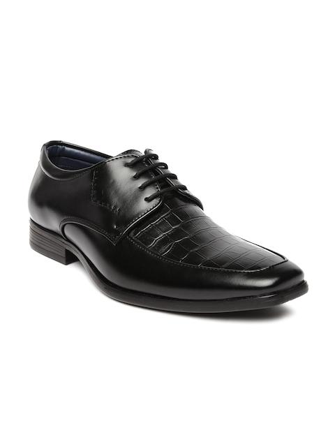 Bata Men Black Square-Toed Textured Derby Shoes