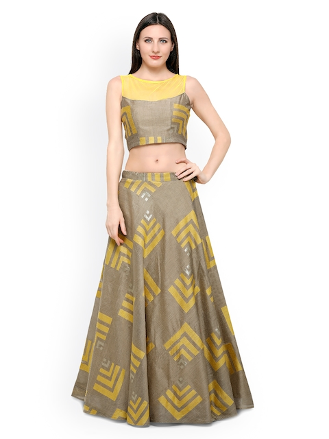 Inddus Mustard Yellow & Brown Banarasi Cotton Semi-Stitched Lehenga Choli