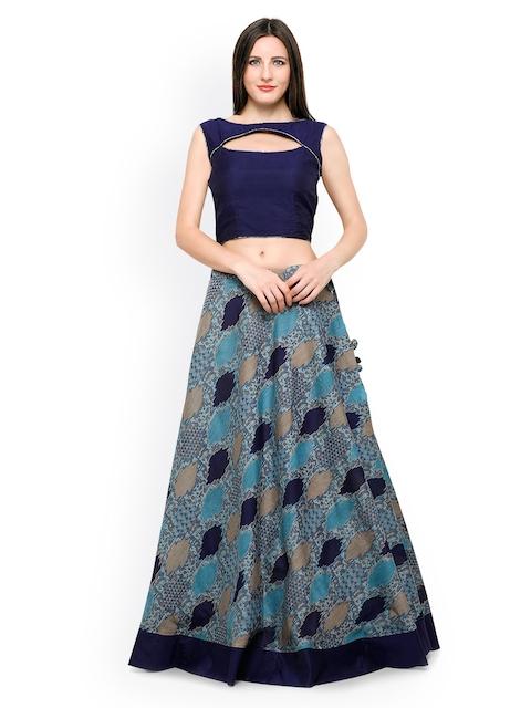 Inddus Blue Banarasi Cotton Semi-Stitched Lehenga Choli