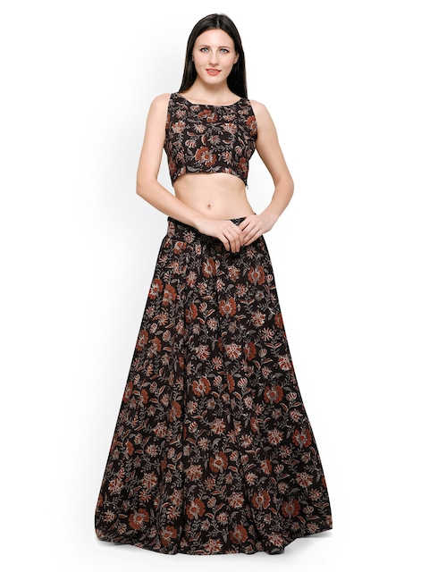 Inddus Black Block Print Banarasi Cotton Semi-Stitched Lehenga Choli
