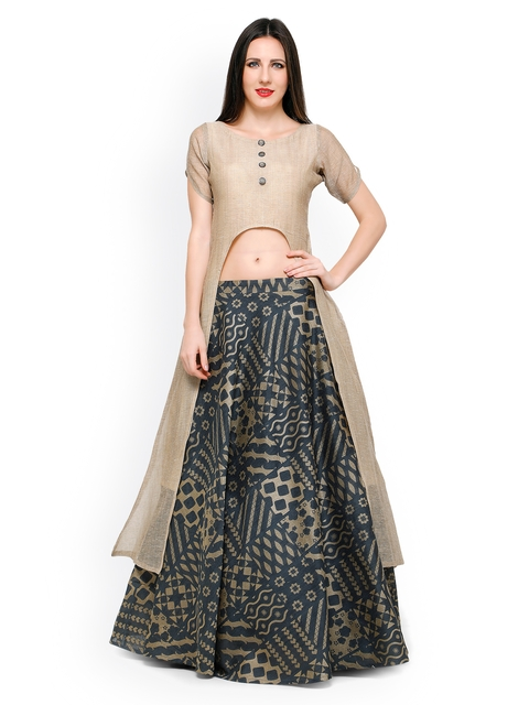 Inddus Beige & Grey Banarasi Cotton Semi-Stitched Lehenga Choli