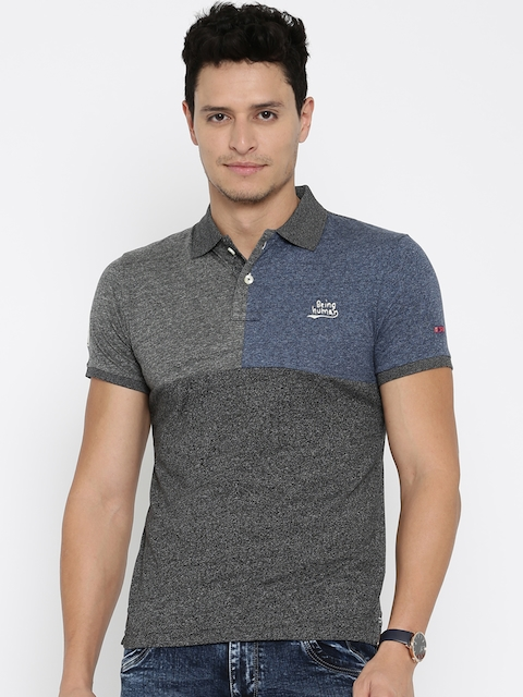 Being Human Clothing Men Grey Solid Polo T-Shirt