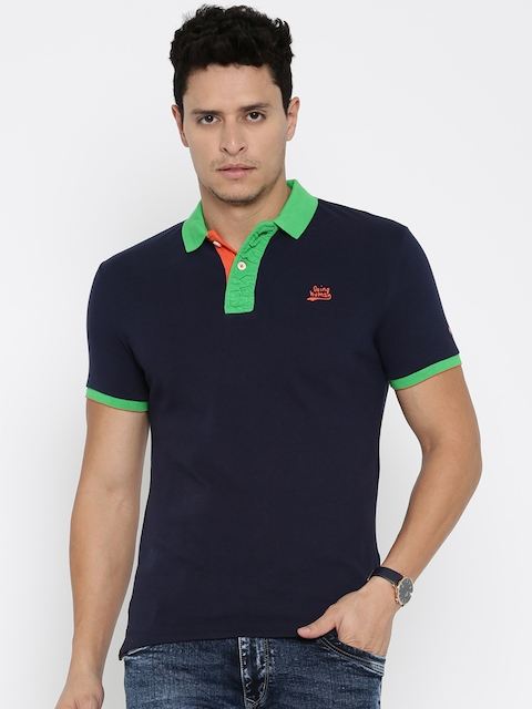 Being Human Clothing Men Navy Solid Polo T-Shirt