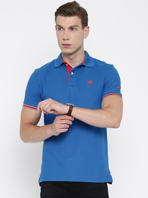 Being Human Clothing Men Blue Solid Polo T-Shirt