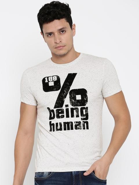 Being Human Clothing Men Grey Self-Design Round Neck T-Shirt