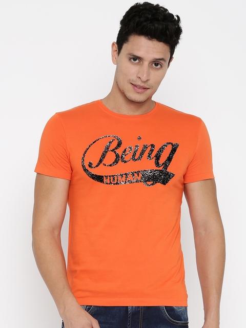 Being Human Clothing Men Orange Self-Design Round Neck T-Shirt