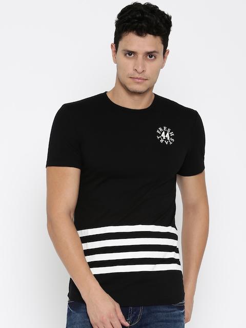 Being Human Clothing Men Black & White Striped Round Neck T-Shirt