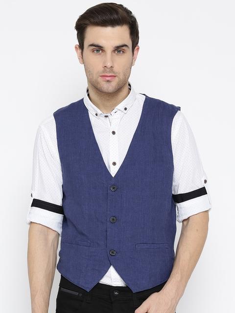 Jack & Jones Blue Linen Waistcoat