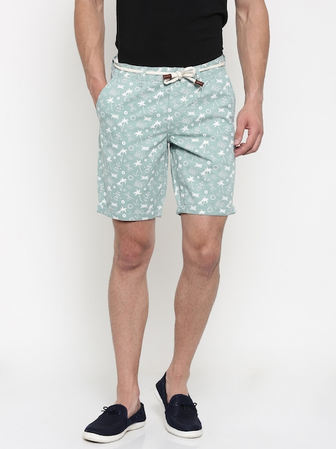 Jack & Jones Men Blue Printed Regular Fit Chino Shorts  available at myntra for Rs.999