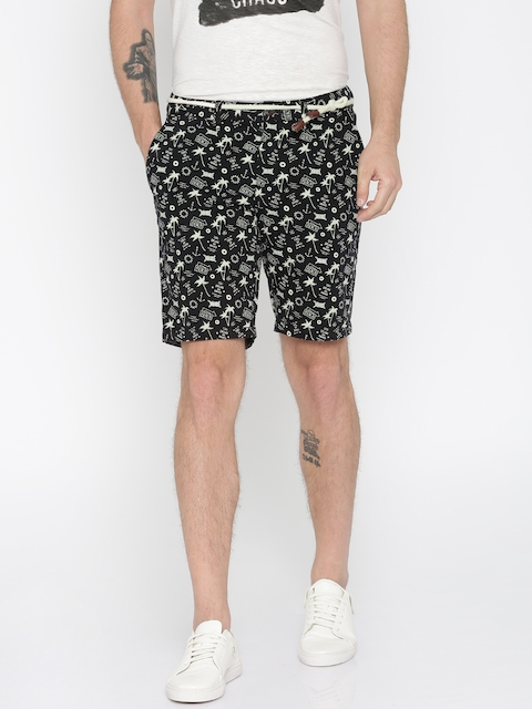 Jack & Jones Men Black Printed Regular Fit Chino Shorts  available at myntra for Rs.999
