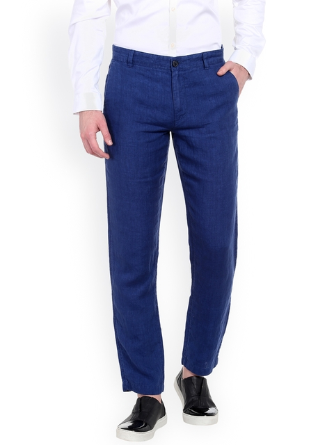 Jack & Jones Men Blue Regular Fit Solid Regular Trousers