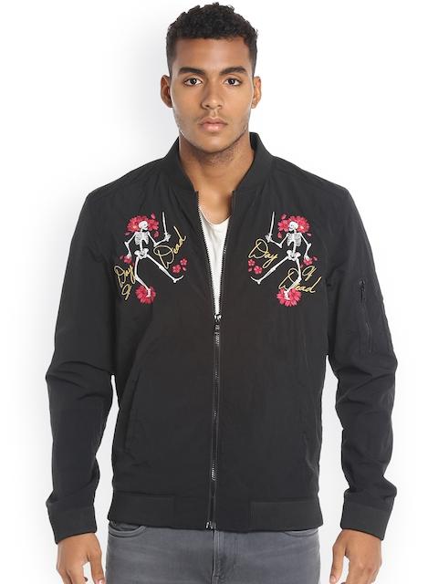 Jack & Jones Men Black Embroidered Solid Bomber Jacket
