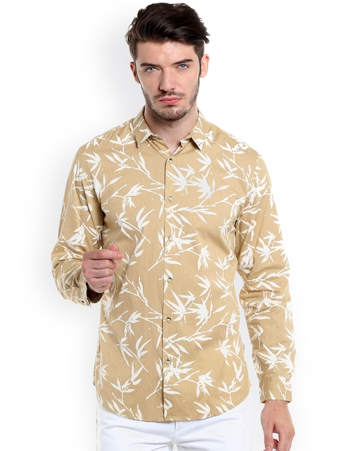 Jack & Jones Men Beige & Off-White Regular Fit Printed Casual Shirt