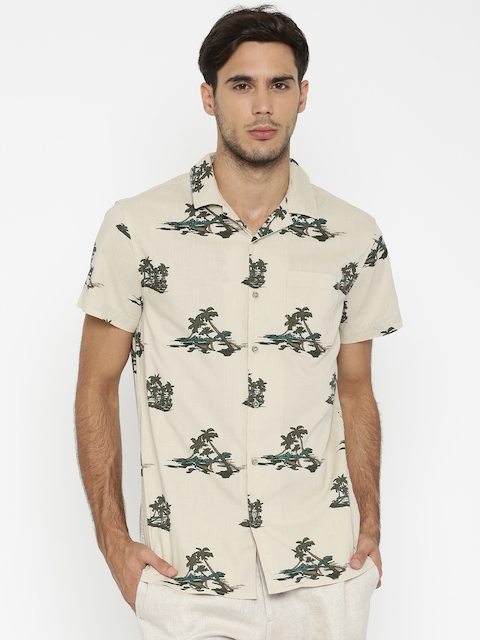 Jack & Jones Men Beige Regular Fit Printed Casual Shirt