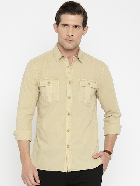 Jack & Jones Men Beige Slim Fit Solid Casual Shirt