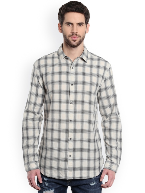Jack & Jones Men Beige & Navy Blue Regular Fit Checked Casual Shirt