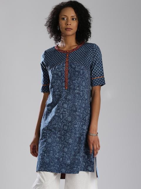 Fabindia Women Blue Printed Straight Kurta