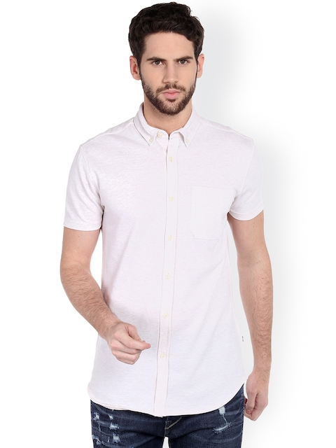 Jack & Jones Men Beige Self-Design Casual Shirt