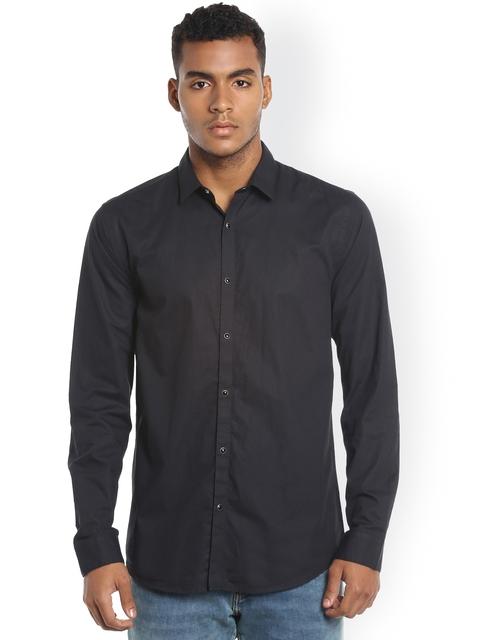 Jack & Jones Men Black Solid Casual Shirt