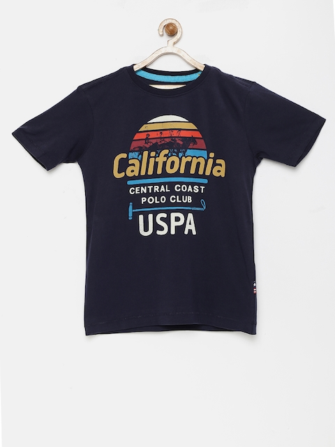 U.S. Polo Assn. Kids Boys Navy Blue Printed Round Neck T-shirt  available at myntra for Rs.419