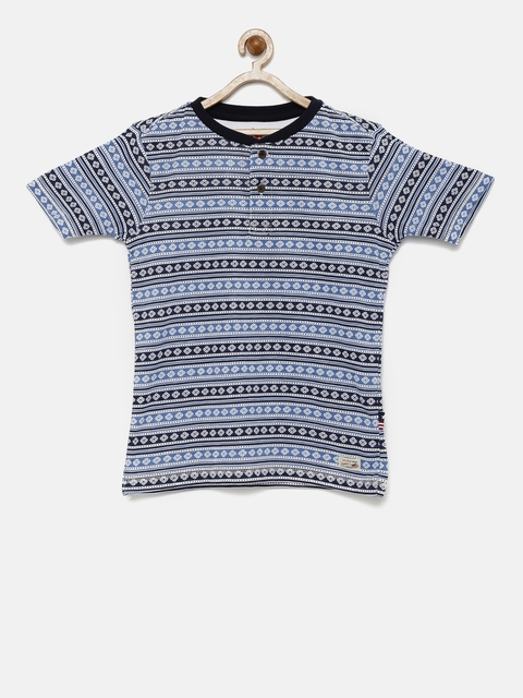 U.S. Polo Assn. Kids Boys Blue Printed Henley Neck T-shirt  available at myntra for Rs.449