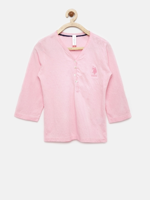U.S. Polo Assn. Kids Girls Pink Self-Designed T-shirt  available at myntra for Rs.449