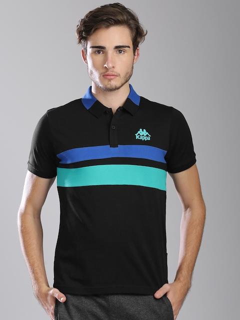 Kappa Men Black Solid Polo Collar T-shirt