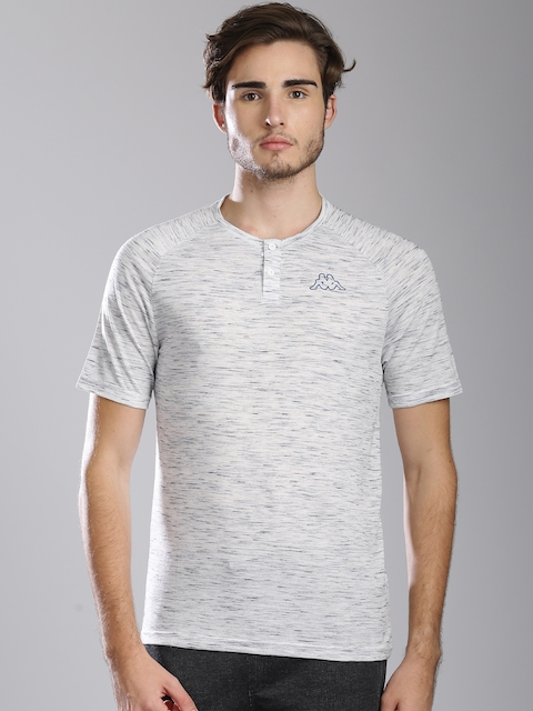 Kappa Men Grey Self-Design Henley Neck T-Shirt