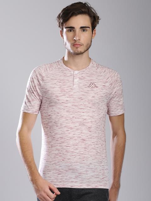 Kappa Men Off-White & Maroon Self-Design Henley Neck T-Shirt