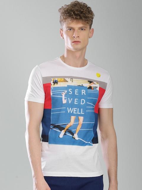 Kappa Men White Printed Round Neck T-Shirt