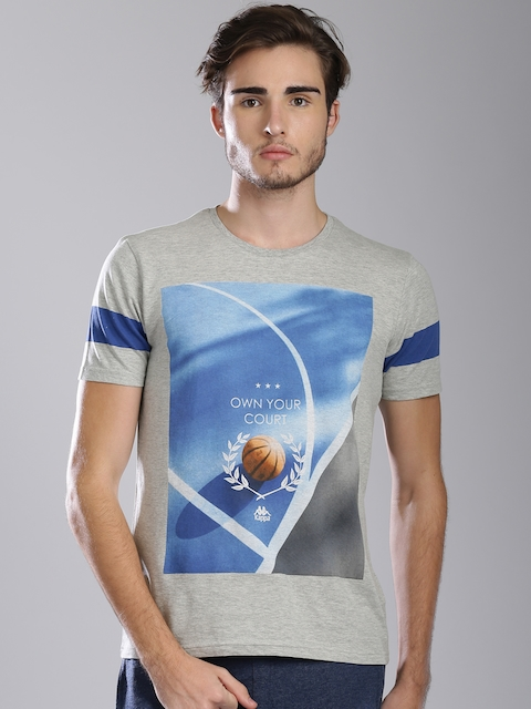 Kappa Men Grey Melange Printed Round Neck T-shirt