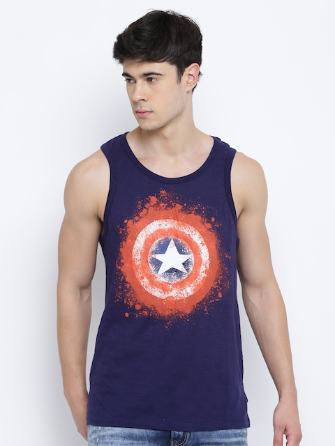 803041cc6ae35 30%off CAPTAIN AMERICA Men Navy Blue Printed Round Neck Sleeveless T-shirt
