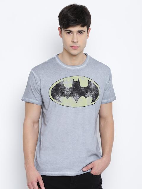 Batman by Free Authority Men Grey Printed Round Neck T-shirt