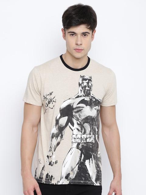Batman Men Beige Printed Round Neck T-shirt