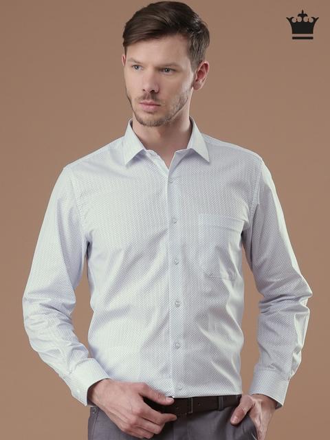 Louis Philippe Men White & Blue Milano Slim Fit Printed Formal Shirt