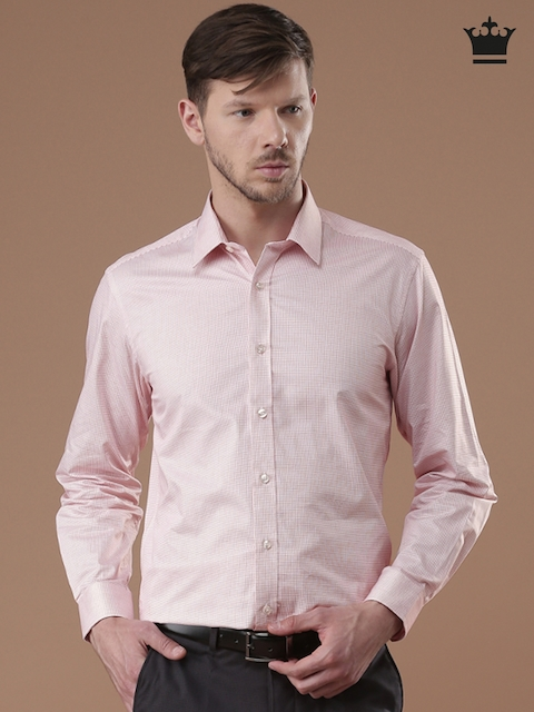 Louis Philippe Men White Milano Slim Fit Checked Formal Shirt