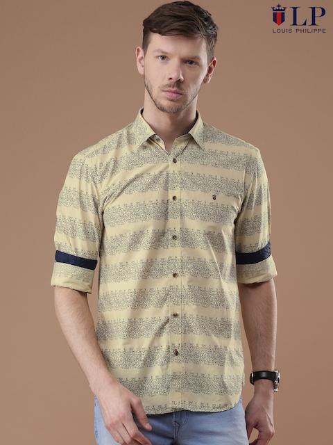 Louis Philippe Sport Men Beige & Navy Slim Fit Printed Casual Shirt